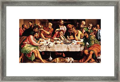Framed Print featuring the digital art Last Supper by Jacopo Bassano