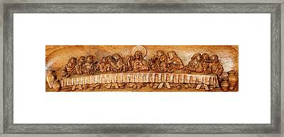 Last Supper Sculptures Carving On Wall Framed Print