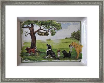Last Tree Dogs Waiting In Line Framed Print
