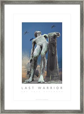 Framed Print featuring the digital art Last Warrior The Sole Defender Poster by David Davies