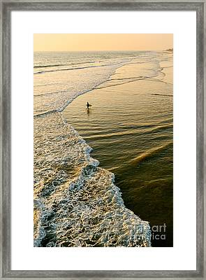 Last Wave - Lone Surfer Waiting For The Perfect Wave In Huntington Beach Framed Print by Jamie Pham