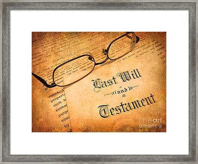 Last Will And Testament Framed Print by Lane Erickson