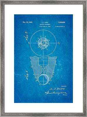 Laszlo Biro Ballpoint Pen Patent Art 1945 Blueprint Framed Print by Ian Monk