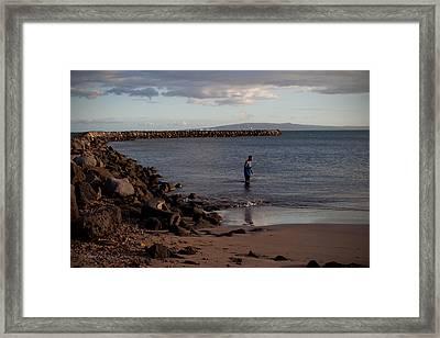 Late Afternoon Angler - Maalaea-maui Framed Print by Paulette B Wright