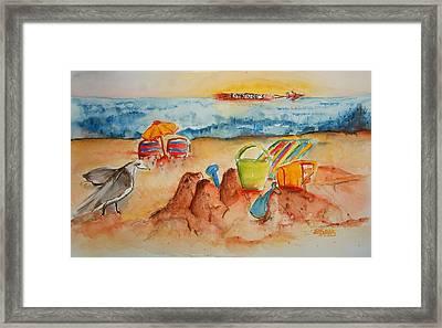 Late Afternoon Beach Framed Print by Elaine Duras