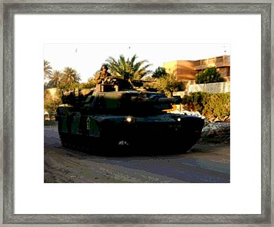 Late Afternoon Urban Patrol M1 Abrams Tank Enhanced Framed Print