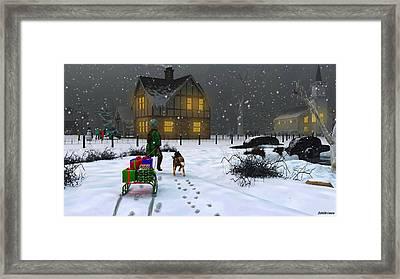 Late Christmas Eve's Visit To Grandma's Framed Print