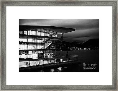 late evening at the Vancouver convention centre west building on burrard inlet BC Canada Framed Print by Joe Fox
