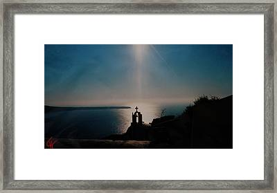 Late Evening Meditation On Santorini Island Greece Framed Print