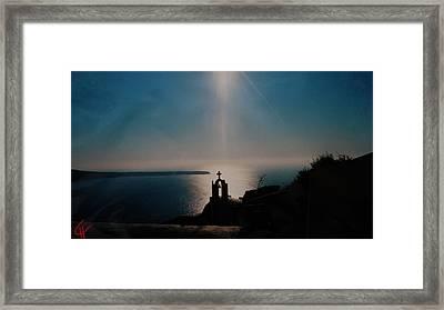 Late Evening Meditation On Santorini Island Greece Framed Print by Colette V Hera  Guggenheim