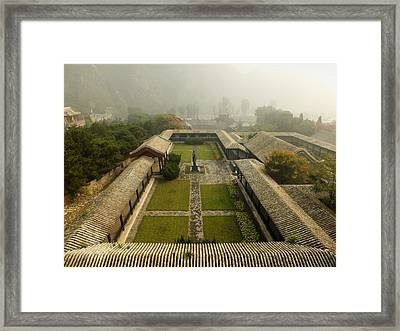 Framed Print featuring the photograph Late Morning Fog At The Great Wall  by Lucinda Walter