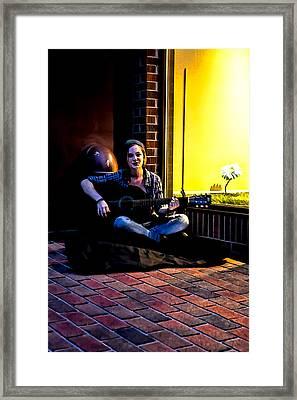 Late Night Busking Framed Print by John Haldane