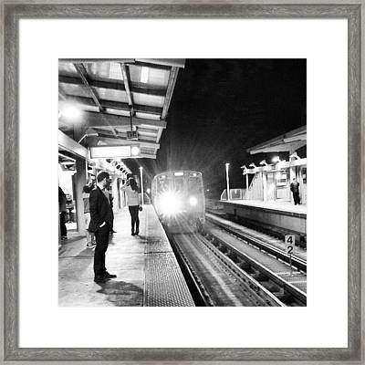 Late Night On The Red Line Framed Print by Jill Tuinier