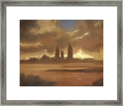 Late Rainy Day Clouds Lifting Framed Print