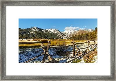 Late Spring Snow At Squaw Framed Print by Nancy Marie Ricketts