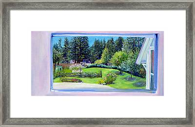 Framed Print featuring the painting Late Spring Yard With Redwoods And Apple Trees by Asha Carolyn Young