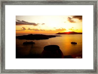 Late Sunset Santorini  Island Greece Framed Print