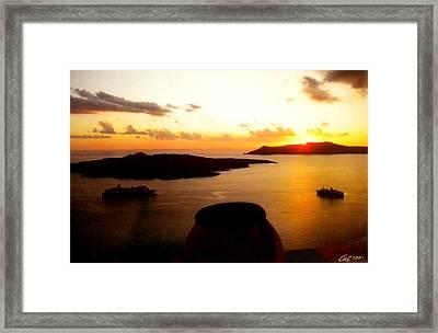 Late Sunset Santorini  Island Greece Framed Print by Colette V Hera  Guggenheim