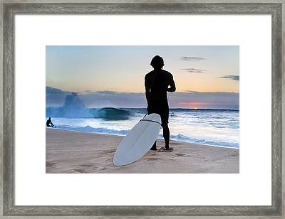 Late Surfer Framed Print by Sean Davey