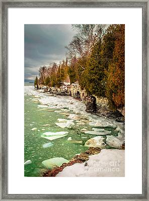 Framed Print featuring the photograph Late Winter At Cave Point by Mark David Zahn Photography