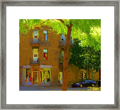 L'atelier Boutique Rue Clark And Fairmount Art Of Montreal Street Scene In Summer By Carole Spandau  Framed Print by Carole Spandau