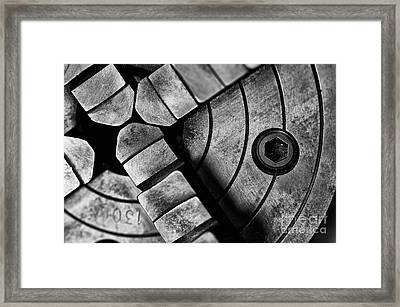 Lathe Chuck Black And White Framed Print by Wilma  Birdwell