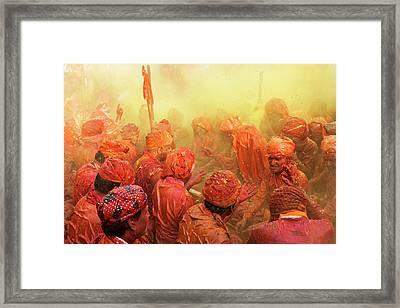Lathmar Holi Framed Print