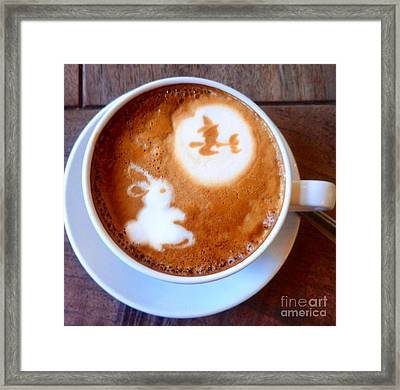 Latte Bunny And Witch Framed Print by Susan Garren