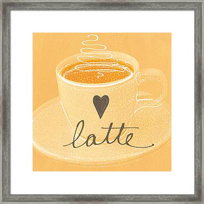 Latte Love In Orange And White Framed Print by Linda Woods