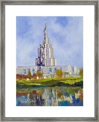 Latter Day Saints Mormon Temple Idaho Falls Idaho Framed Print by Nancy LaMay