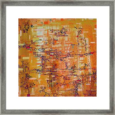 Lattice Animals Abstract Oil Painting By Regina Valluzzi Framed Print