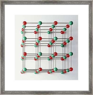 Lattice Of Sodium And Chlorine Atoms Framed Print by Dorling Kindersley/uig