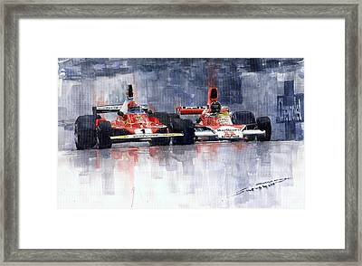 Lauda Vs Hunt Brazilian Gp 1976 Framed Print by Yuriy Shevchuk