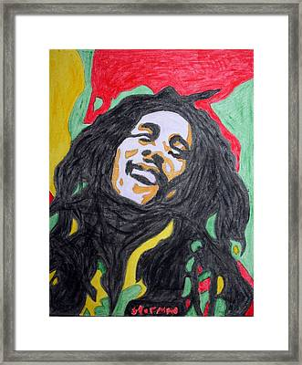 Framed Print featuring the painting Happy Bob Marley  by Stormm Bradshaw