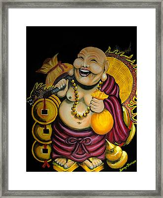Framed Print featuring the painting Laughing Buddha For Prosperity by Saranya Haridasan