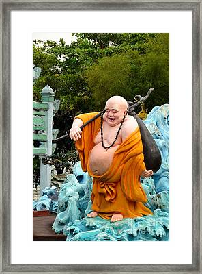 Laughing Buddhist Monk On Journey Framed Print by Imran Ahmed