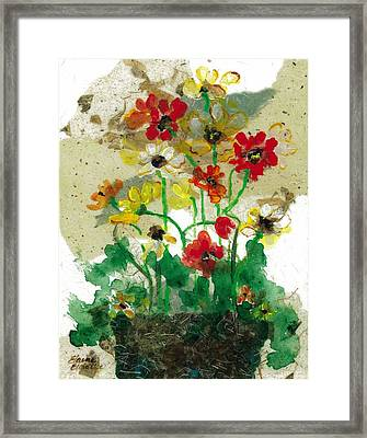 Framed Print featuring the painting Laughing Poppies by Elaine Elliott
