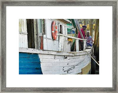 Laughs On A Shrimpboat Framed Print by Patricia Greer