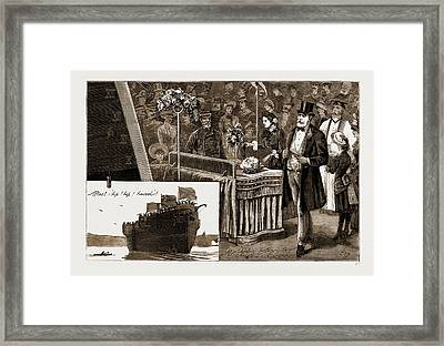 Launch Of H.m.s. Calypso At Chatham, Uk Framed Print