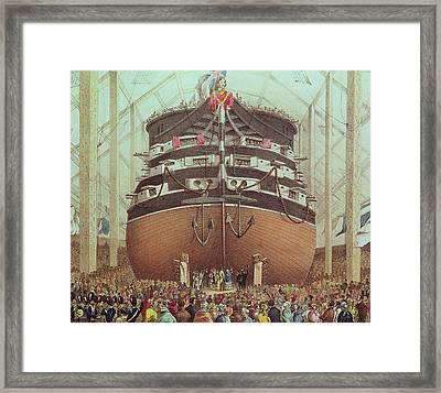 Launch Of Hms Royal Albert Framed Print by English School