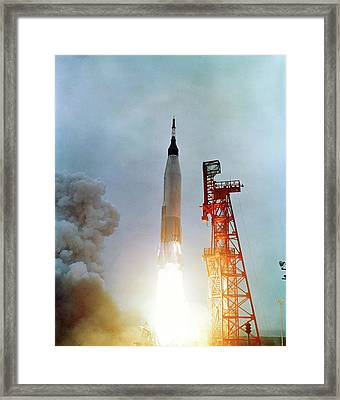 Launch Of Mercury-atlas 7 Framed Print by Nasa