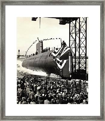 Launch Of The First Nuclear Submarine Framed Print