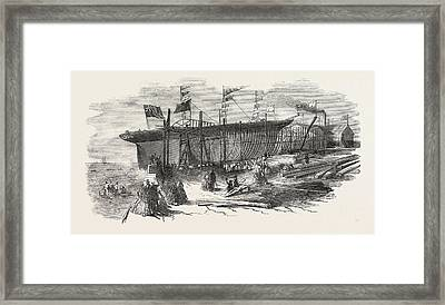 Launch Of The Marion Macintyre, And Part Of The Ship Iron Framed Print by Jordanian School