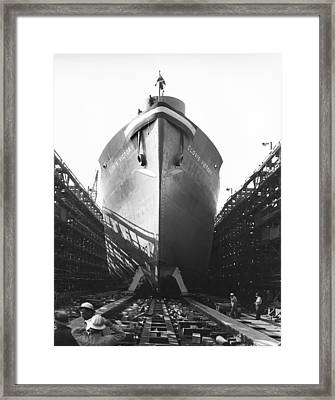 Launching Of Wwii Victory Ship Framed Print by California Shipbuilding Corporat
