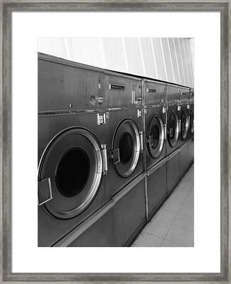 Laundromat Black And White Framed Print by Dan Sproul