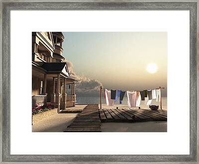 Laundry Day Framed Print by Cynthia Decker