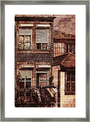 Laundry Day In Porto - Sketch Framed Print by Mary Machare