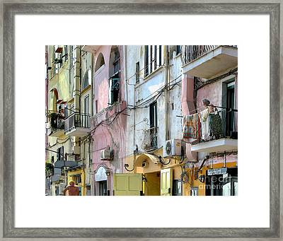 Laundry Day In Procida Framed Print