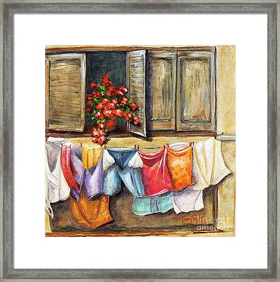 Laundry Day In The Villa Framed Print