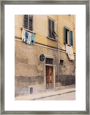 Laundry Day In Verona Framed Print by Suzanne Gaff